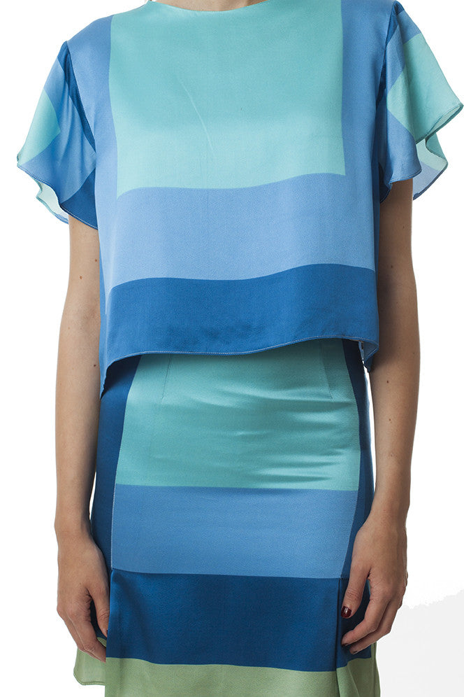 FALDA COLOR BLOCK AZUL