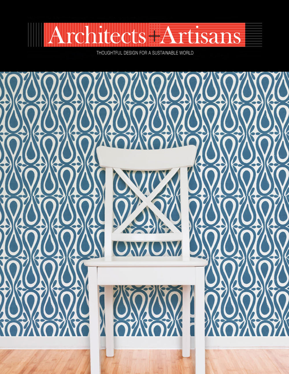 Hand block printed wallpaper in blue - so bold! - Shown in Architects + Artisans