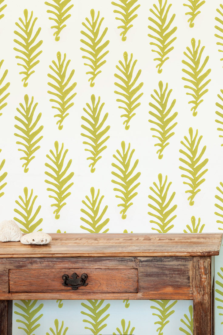 Don't Leave Me hand block printed artisan wallpaper in Citron (lime green) | by Sarah & Ruby