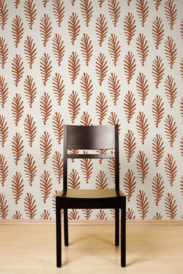 Don't Leave Me artisan hand printed wallpaper in Ginger (rust) by Sarah & Ruby.