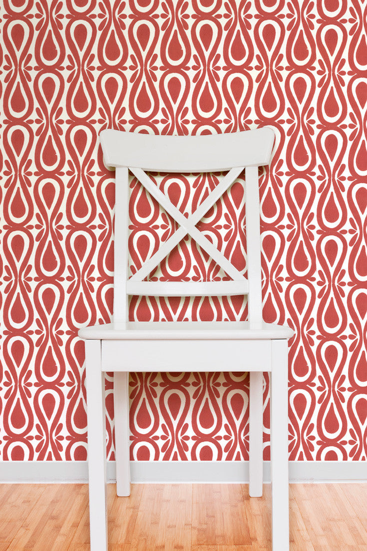 Be bold. Make a statement. Drop On Over Hand Block Printed Wallpaper in Cayenne (red) by Sarah & Ruby (a duo known for their boldly-proportioned colorful designs inspired by exuberant California living).