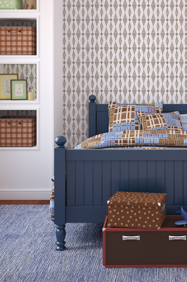 Go with the Flow Hand Printed Wallpaper in Chocolate by Sarah & Ruby. So cool in this boy's bedroom.