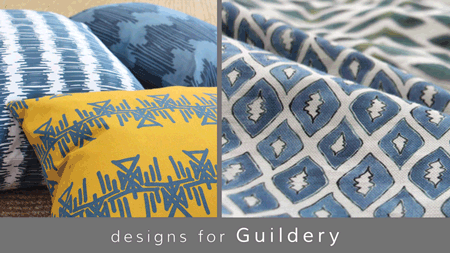 Bold, graphic fabrics featuring geometric and organic motifs designed by Sarah & Ruby for Guildery