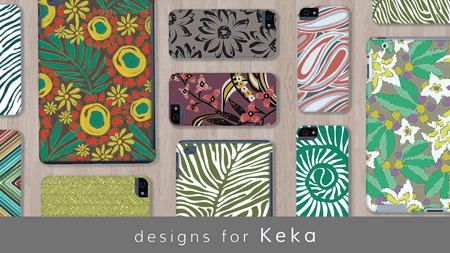 Colorful organic motifs decorate these electronics, phone, and iPad cases designed by Sarah & Ruby for Keka case