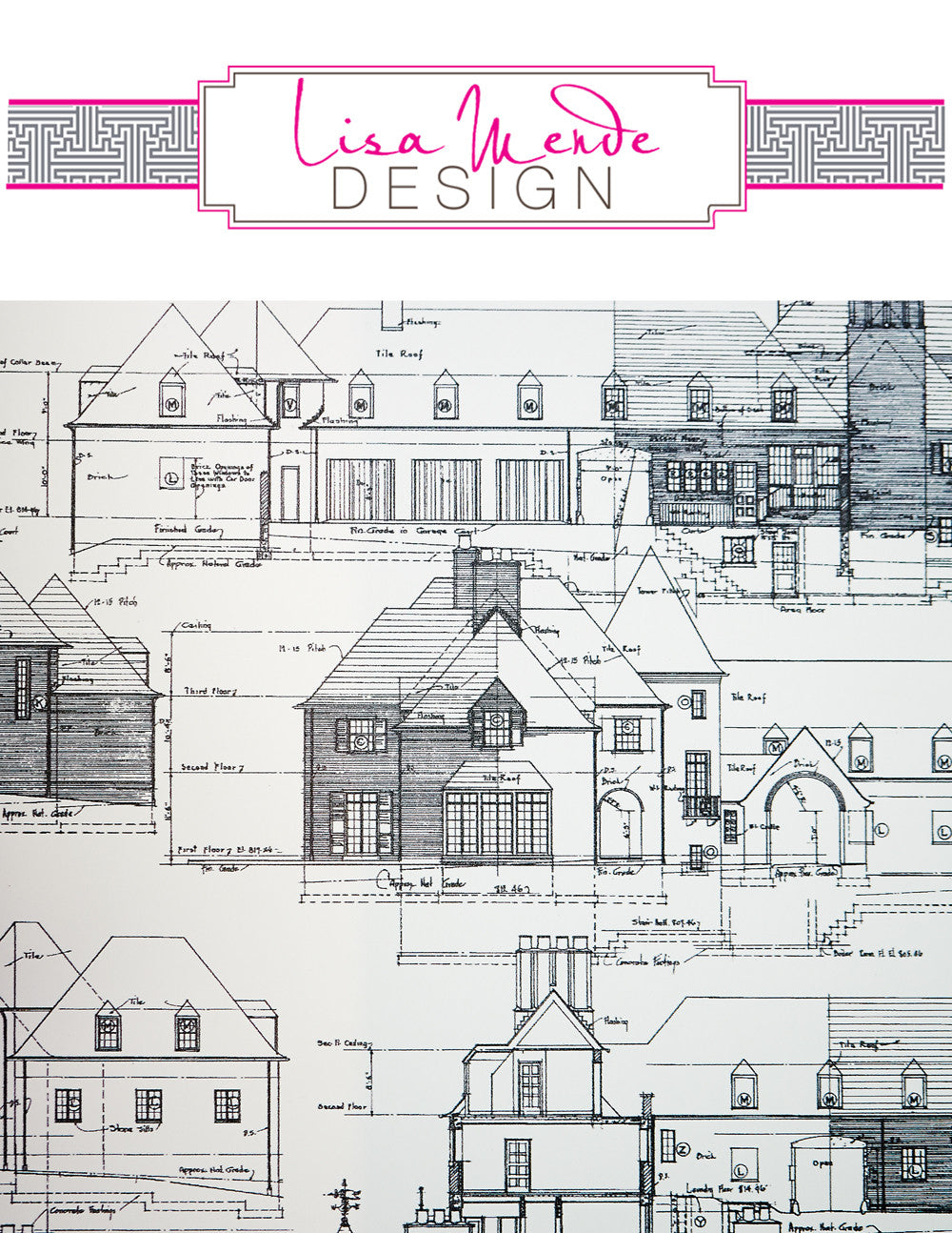 Architectural Toile custom designed wallpaper by Sarah & Ruby