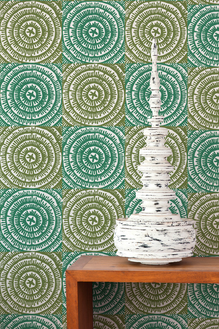On the Mark Wallpaper in Jade (teal and olive green). All hand printed by artisans. By Sarah & Ruby.