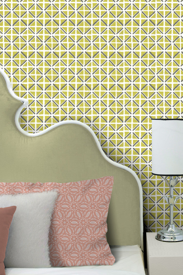 On Track – a bold, colorful, and modern hand printed wallpaper in Citron (lime green and gray) | by Sarah & Ruby