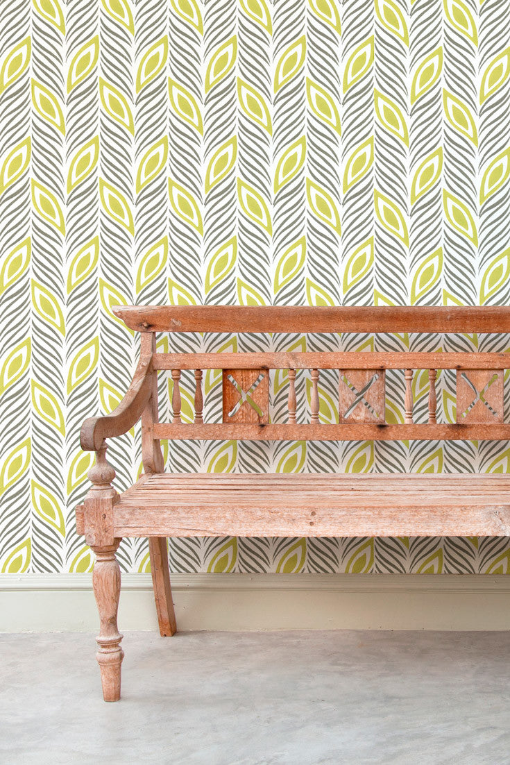 Strut Your Stuff – a bold geometric colorful hand-block printed wallpaper in lime green and gray. What a great option to liven up a hallway or for an accent wall | by Sarah & Ruby