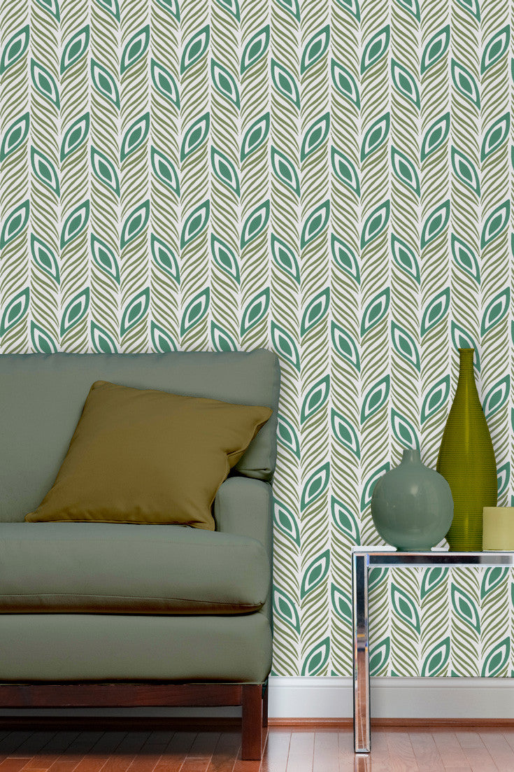 Strut Your Stuff artisan hand block printed wallpaper in Jade (teal and olive green) by Sarah & Ruby. Loving the many shades of green in combination with the accent wall.