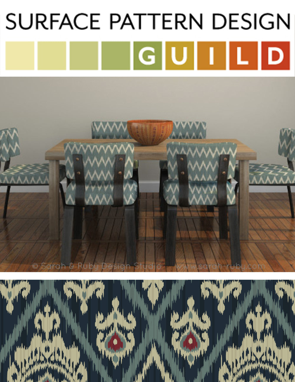 Modern ikat design custom made for fabric by Sarah & Ruby