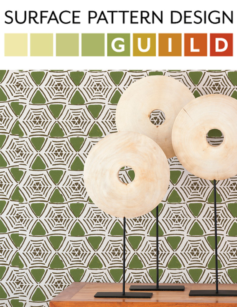 Sarah & Ruby's new modern handprinted wallpaper line featured on Surface Pattern Design Guild