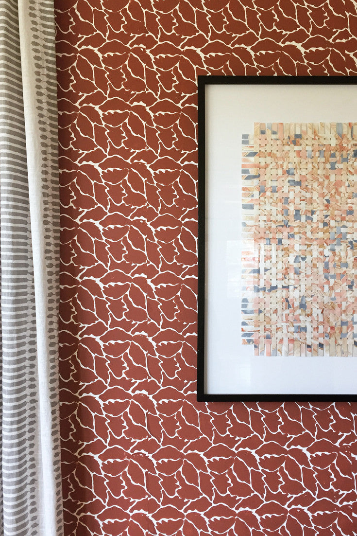 We Just Fit – a modern, colorful, boldly-proportioned hand block printed wallpaper in Ginger (rust) | by Sarah & Ruby