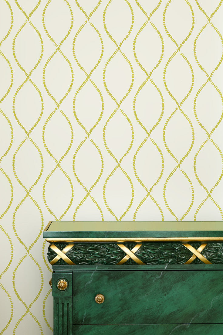 We're Intertwined artisan hand block printed wallpaper in Citron (lime green) by Sarah & Ruby. How great would this be in a nursery?