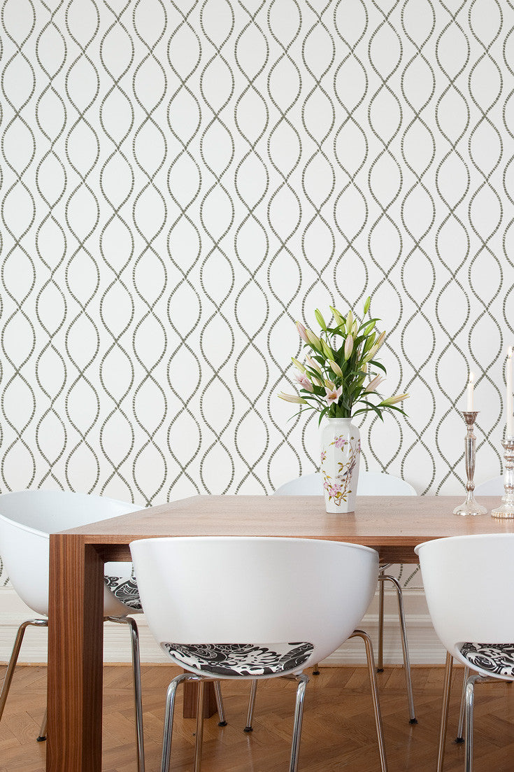 We're Intertwined bold. artisan hand printed wallpaper in Stone (gray) by Sarah & Ruby.