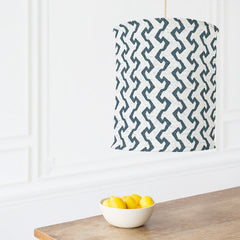 Graphic fabric for this lamp is inspired by traditional ethnic handmade Kapa cloth.