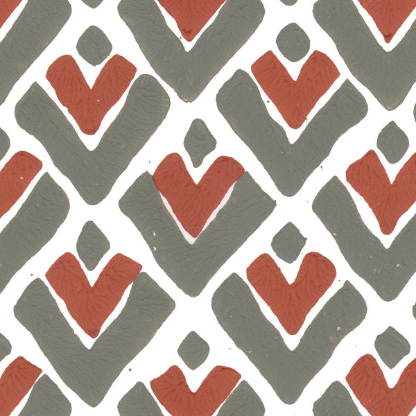 Aim High in Cayenne (red) | Hand-printed wallcovering by Sarah & Ruby | www.sarahrubydesign.com