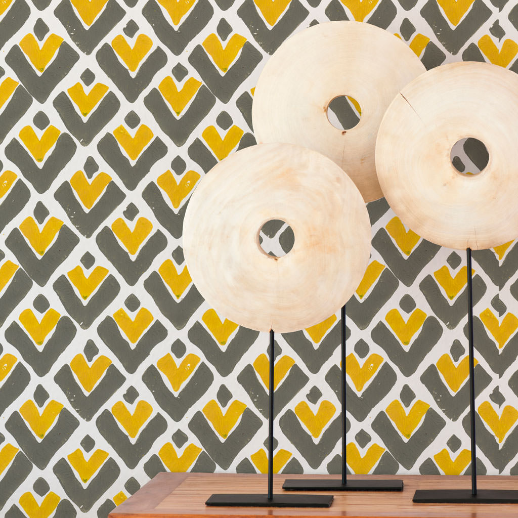 Aim High in Saffron (yellow) | Bold Hand-painted wallpaper by Sarah & Ruby | www.sarahrubydesign.com