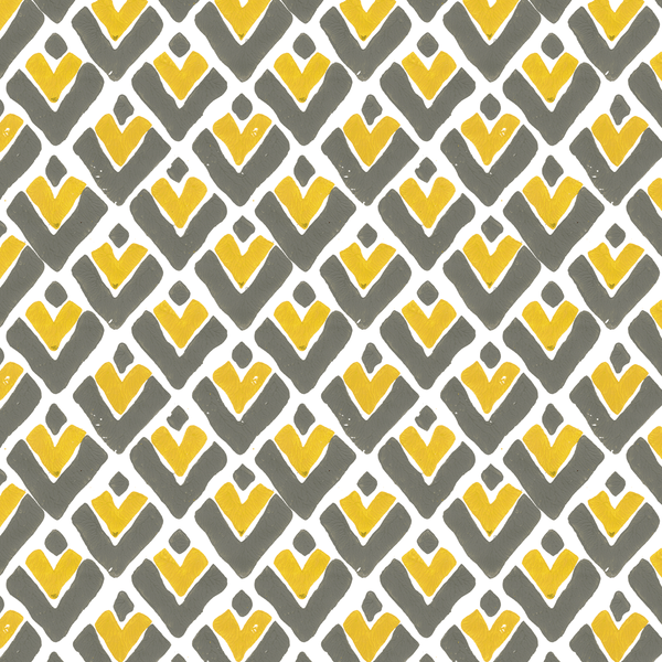 Aim High in Saffron (yellow) | Hand-printed wallpaper by Sarah & Ruby | www.sarahrubydesign.com