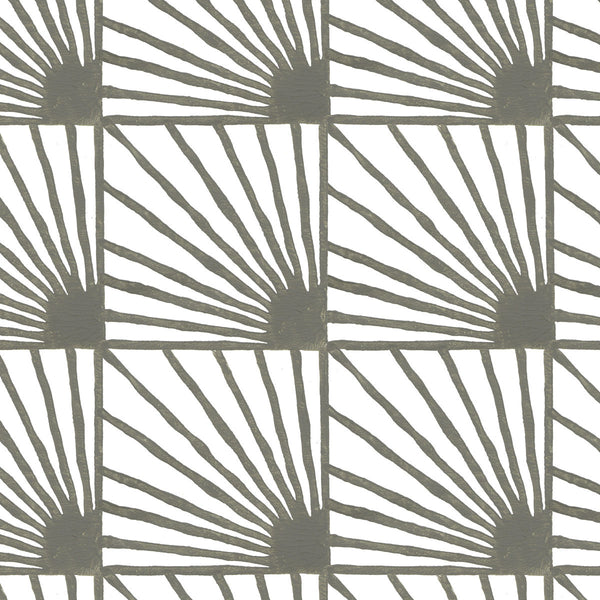 Catch Some Rays in Stone (gray) | Hand-printed wallcovering by Sarah & Ruby | www.sarahrubydesign.com