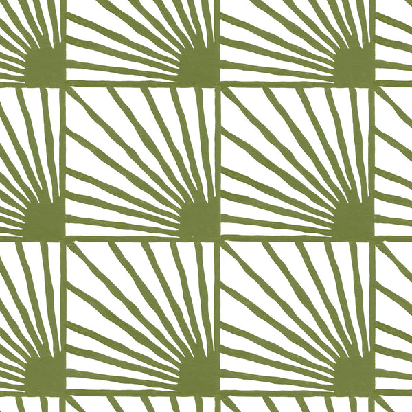 Catch Some Rays in Moss (green) | Hand-painted wallpaper by Sarah & Ruby | www.sarahrubydesign.com