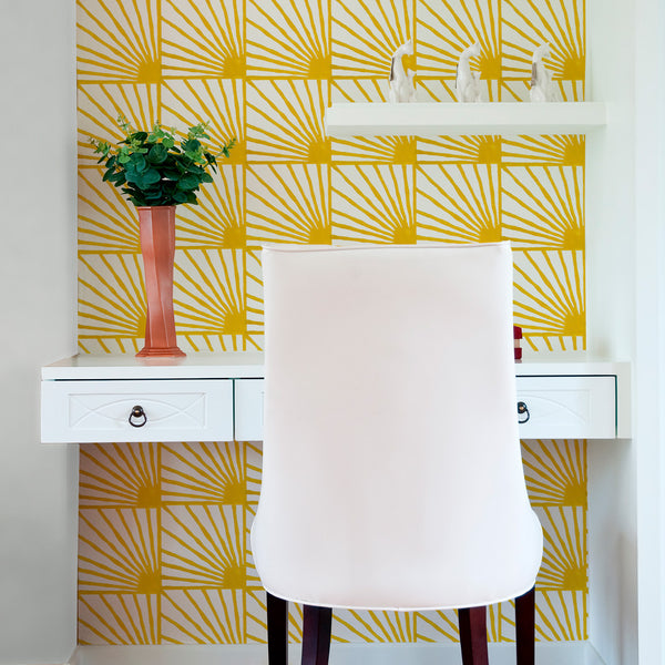 Catch Some Rays in Saffron (yellow) | Hand block printed wallpaper by Sarah & Ruby | www.sarahrubydesign.com