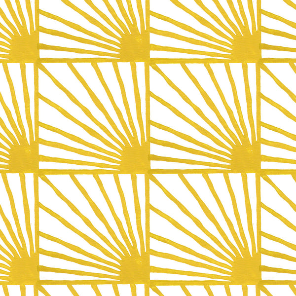 Catch Some Rays in Saffron (yellow) | Hand-painted wallpaper by Sarah & Ruby | www.sarahrubydesign.com