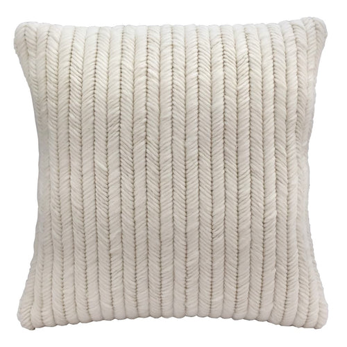 "Textured modern needlepoint throw pillow in ivory cream herringbone pattern. Hand made. 20""x20"""