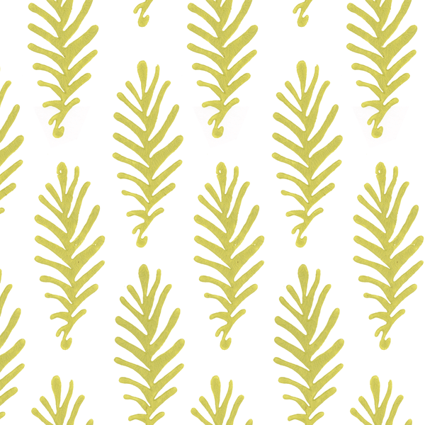 Don't Leave Me in Citron (lime green) | Hand-block print wallpaper by Sarah & Ruby | www.sarahrubydesign.com