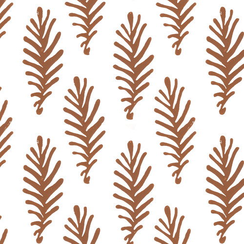 Don't Leave Me in Ginger (rust brown) | Hand-block printed wallpaper by Sarah & Ruby | www.sarahrubydesign.com