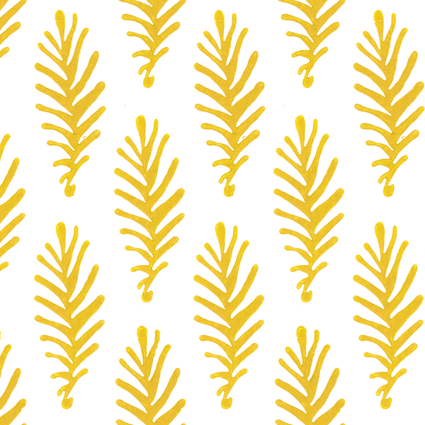Don't Leave Me in Saffron (yellow) | Hand painted wallpaper by Sarah & Ruby | www.sarahrubydesign.com