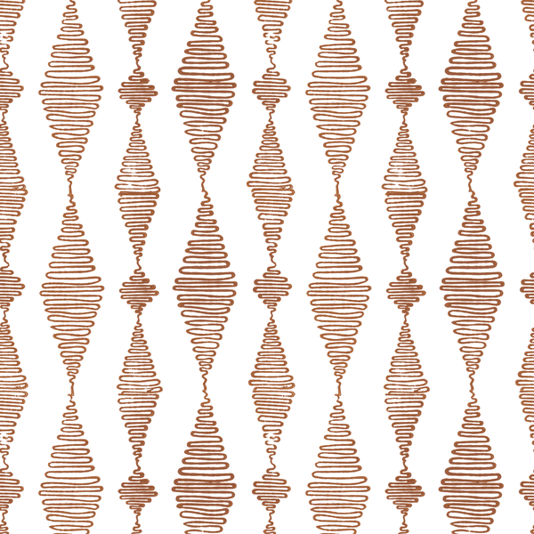 Go with the Flow in Ginger (rust brown) | Hand-block print wallpaper by Sarah & Ruby | www.sarahrubydesign.com