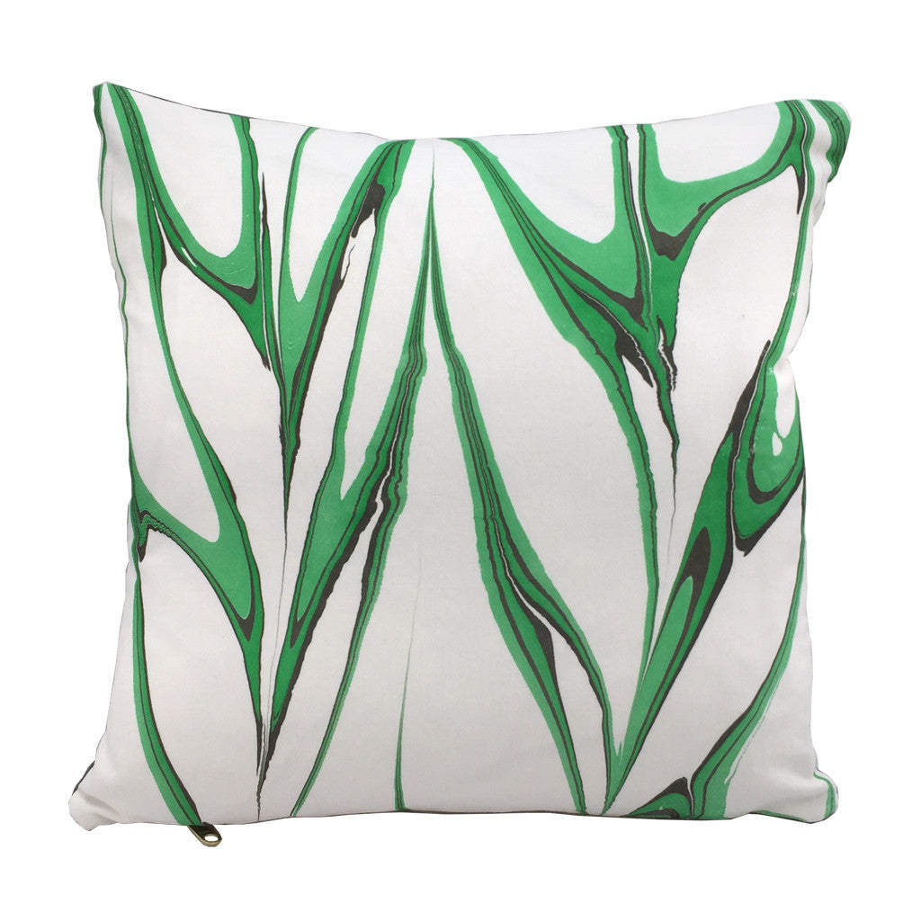 "Modern marbled throw pillow hand printed in emerald green colorway. 16""x16"" square"