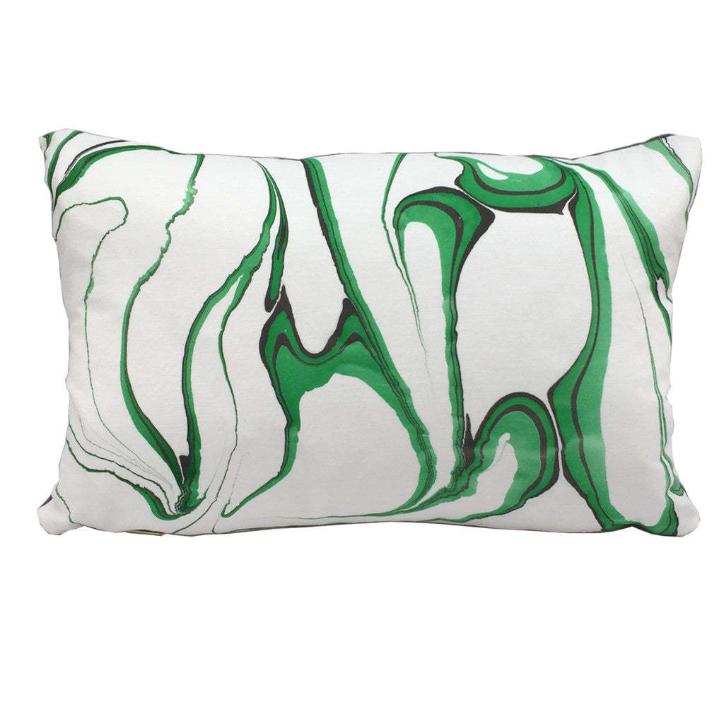 "Modern artisan made marbled throw pillow in emerald green colorway. 12""x18"" lumbar"