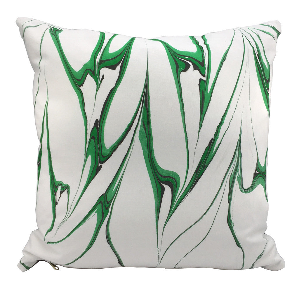 "Modern marbled throw pillow hand printed in emerald green colorway. 20""x20"" square"