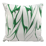Modern marbled throw pillow hand printed in emerald green colorway. 20