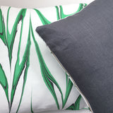 Hand printed marbled pillows with organic cotton front and linen back.