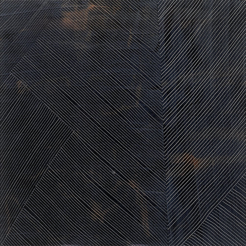 "24"" x 24"" Untitled Artwork in Indigo and Copper. Organic, modern lines with a high gloss resin finish."