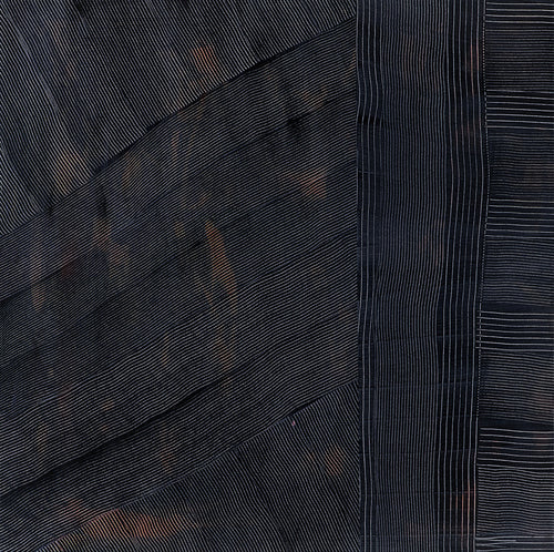24in x 24in artwork in Indigo and Copper. Modern, organic lines with a glossy sophisticated resin finish.