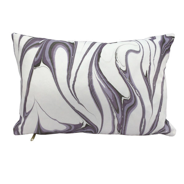 "Handmade artisan marbled throw pillow in purple lavender colorway, 12""x18"" lumbar"