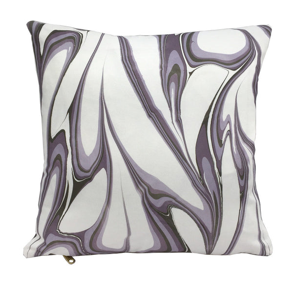 "Modern handprinted marbled throw pillow in purple lavender colorway, 16""x16"" square"