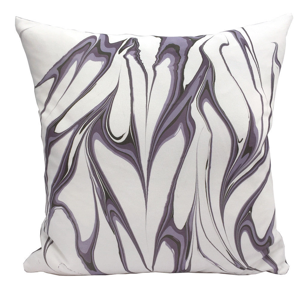 "Handmade modern marbled throw pillow in lavender purple colorway, 20""x20"" square"