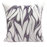 Handmade modern marbled throw pillow in lavender purple colorway, 20
