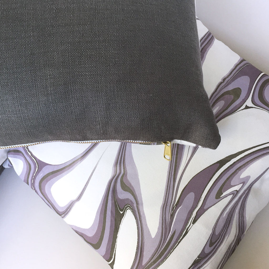 Hand made marbled pillows with organic cotton front and linen back.