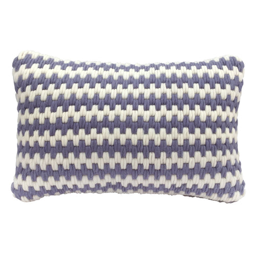 Super soft artisan made hand-stitched textured throw pillow in lavender stripe. Wool and linen. Needlepoint.