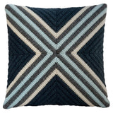 Navy blue textured hand stitched throw pillow. 20