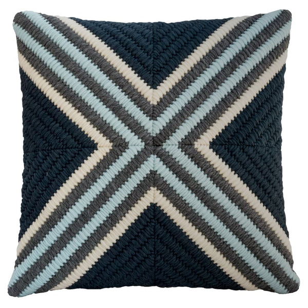 "Navy blue textured hand stitched throw pillow. 20""x20"""