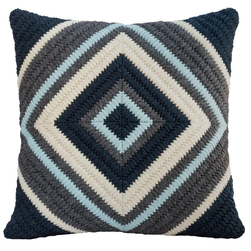 "Textured needlepoint handmade navy blue cross throw pillow. 20""x20"""