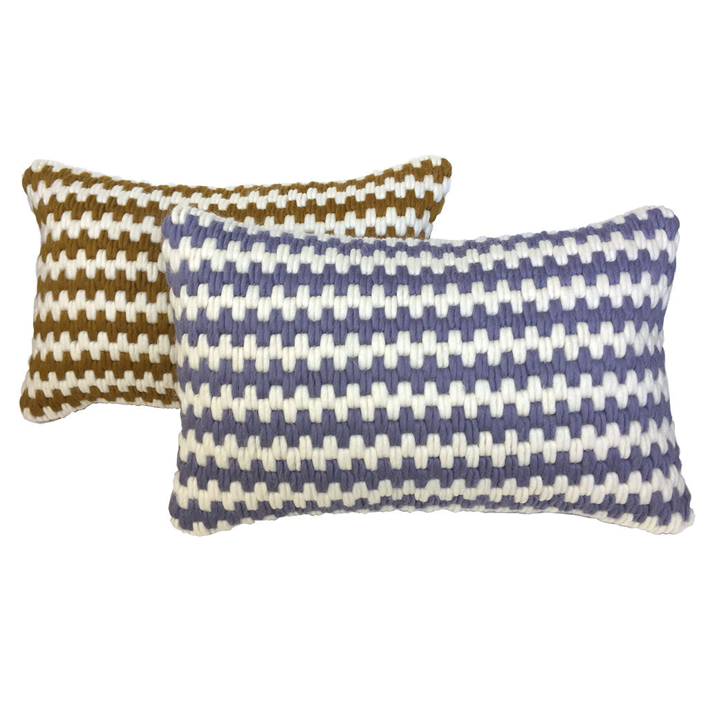 Super soft artisan made hand-stitched textured pillows in lavender stripe and ochre stripe.
