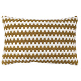 Super soft artisan made hand-stitched textured throw pillows in gold ochre stripe. Wool and linen. Needlepoint.