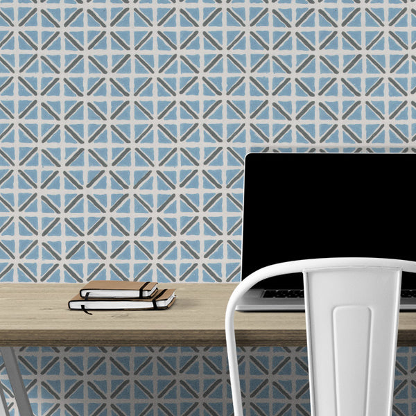 On Track in Blue | Hand-block print wallpaper by Sarah & Ruby | www.sarahrubydesign.com